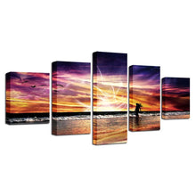Sunset Beach Waves 5 Piece HD Multi Panel Canvas Wall Art Frame