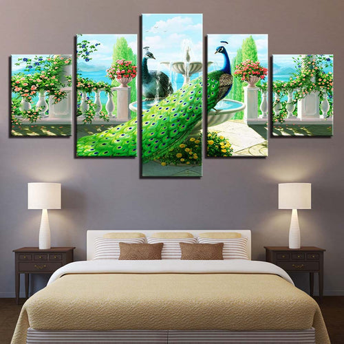 Peacock In Garden 5 Piece HD Multi Panel Canvas Wall Art Frame