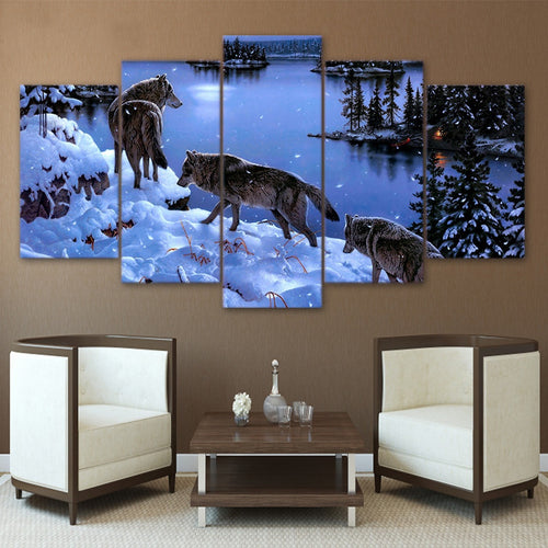 Wolves In The Snow 5 Piece HD Multi Panel Canvas Wall Art Frame