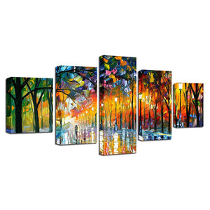 Painted Park Walkway 5 Piece HD Multi Panel Canvas Wall Art Frame