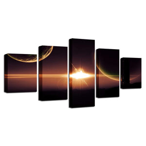 Planets & Light 5 Piece HD Multi Panel Canvas Wall Art Frame