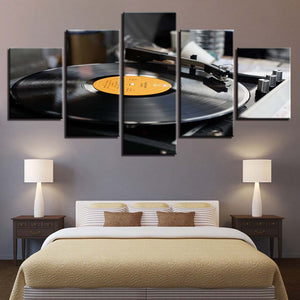 Music Record 5 Piece HD Multi Panel Canvas Wall Art Frame