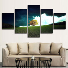 Grass Tree And White Cloud Scenery 5 Piece HD Multi Panel Canvas Wall Art Frame