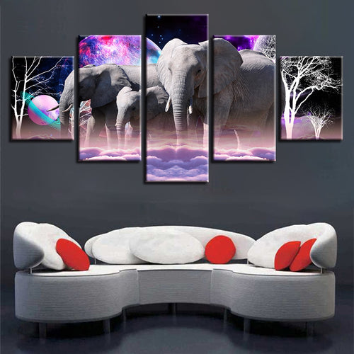 Wonder Elephants 5 Piece HD Multi Panel Canvas Wall Art Frame