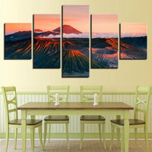 Sunset Volcano Mountains 5 Piece HD Multi Panel Canvas Wall Art Frame