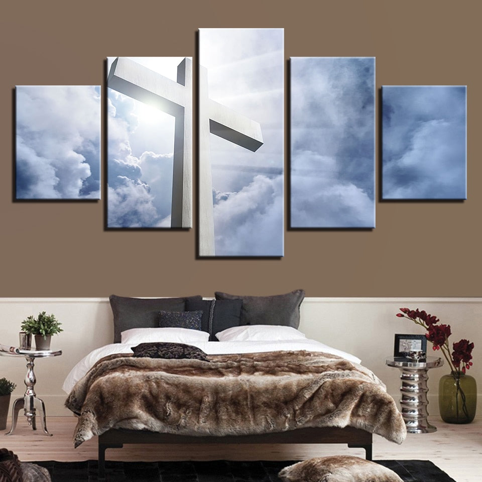 White Clouds Jesus Cross 5 Piece HD Multi Panel Canvas Wall Art Frame