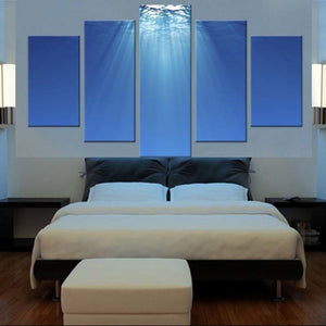 Underwater Sunlight 5 Piece HD Multi Panel Canvas Wall Art Frame