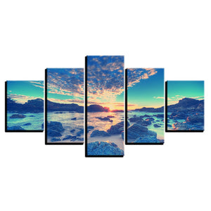 Beach Reef 5 Piece HD Multi Panel Canvas Wall Art Frame