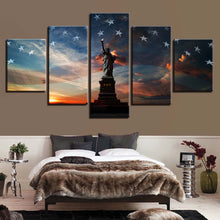 Statue of Liberty & The Flag 5 Piece HD Multi Panel Canvas Wall Art Frame
