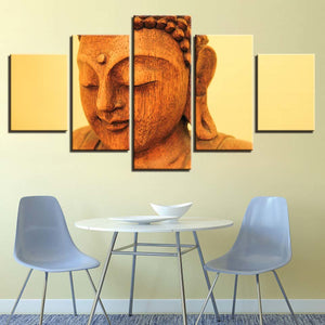 Wooden Buddha Statue 5 Piece HD Multi Panel Canvas Wall Art Frame