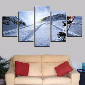 Snow Tracks 5 Piece HD Multi Panel Canvas Wall Art Frame