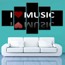 I Love Music Painting 5 Piece HD Multi Panel Canvas Wall Art Frame