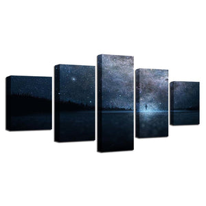 Beautiful Starry Sky 5 Piece HD Multi Panel Canvas Wall Art Frame