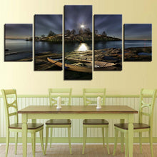 Boat Ashore at Night 5 Piece HD Multi Panel Canvas Wall Art Frame
