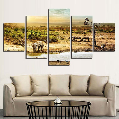 African Forest Elephants 5 Piece HD Multi Panel Canvas Wall Art Frame