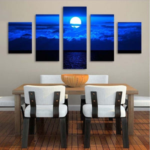 Peaceful Moon Night 5 Piece HD Multi Panel Canvas Wall Art Frame