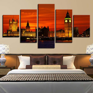 London Night 5 Piece HD Multi Panel Canvas Wall Art Frame