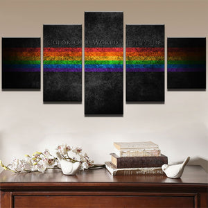Rainbow Painting 5 Piece HD Multi Panel Canvas Wall Art Frame