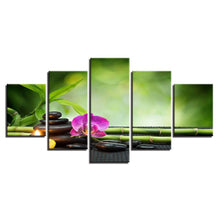 Orchid & Bamboo 5 Piece HD Multi Panel Canvas Wall Art Frame