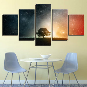 Starry Tree 5 Piece HD Multi Panel Canvas Wall Art Frame