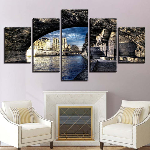 City Bridge  5 Piece HD Multi Panel Canvas Wall Art Frame