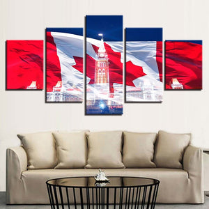 Canadian Flag Scenery 5 Piece HD Multi Panel Canvas Wall Art Frame