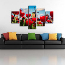 Windmill Red Roses 5 Piece HD Multi Panel Canvas Wall Art Frame