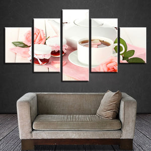 Pink Rose Tea 5 Piece HD Multi Panel Canvas Wall Art Frame