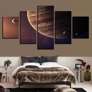Planets 5 Piece HD Multi Panel Canvas Wall Art Frame