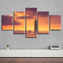 Taipei City Building 5 Piece HD Multi Panel Canvas Wall Art Frame