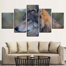 Wolf Animal Frame 5 Piece HD Multi Panel Canvas Wall Art Frame
