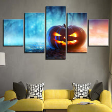 Carved Pumpkin 5 Piece HD Multi Panel Canvas Wall Art Frame