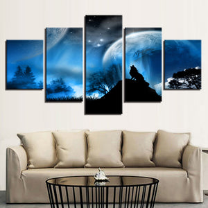 Wolf Howling 5 Piece HD Multi Panel Canvas Wall Art Frame