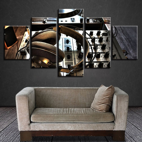 Dj Set Headphones 5 Piece HD Multi Panel Canvas Wall Art Frame