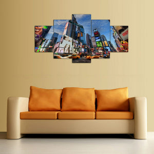 Time Square 5 Piece HD Multi Panel Canvas Wall Art Frame