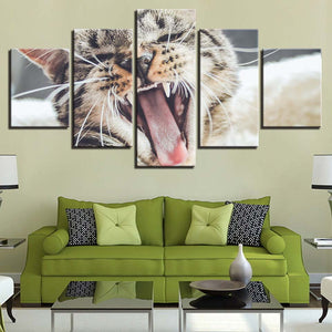 Yawning Cat 5 Piece HD Multi Panel Canvas Wall Art Frame