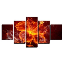 Flame Flower 5 Piece HD Multi Panel Canvas Wall Art Frame
