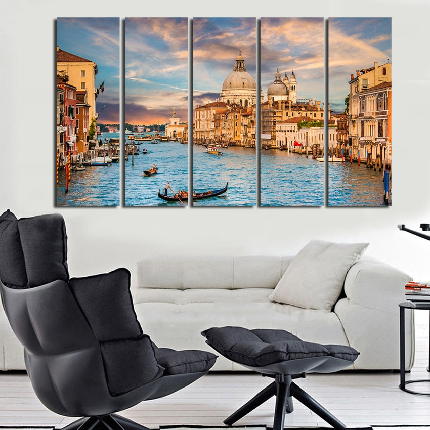 City of Venice 5 Piece HD Multi Panel Canvas Wall Art Frame