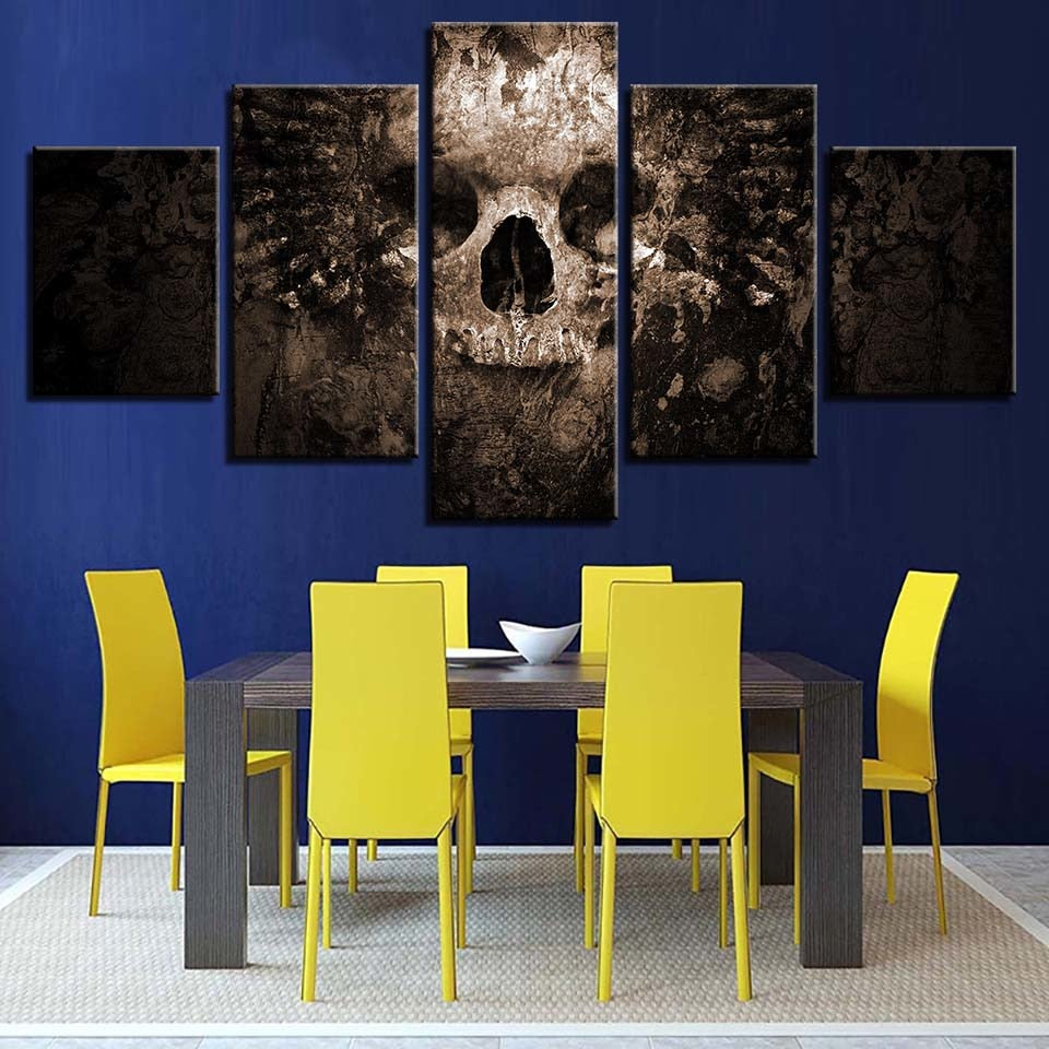 Scary Skull 5 Piece HD Multi Panel Canvas Wall Art Frame