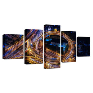 Highway Night Scene 5 Piece HD Multi Panel Canvas Wall Art Frame