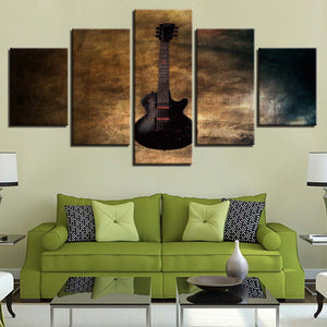 The Rustic Guitar 5 Piece HD Multi Panel Canvas Wall Art Frame