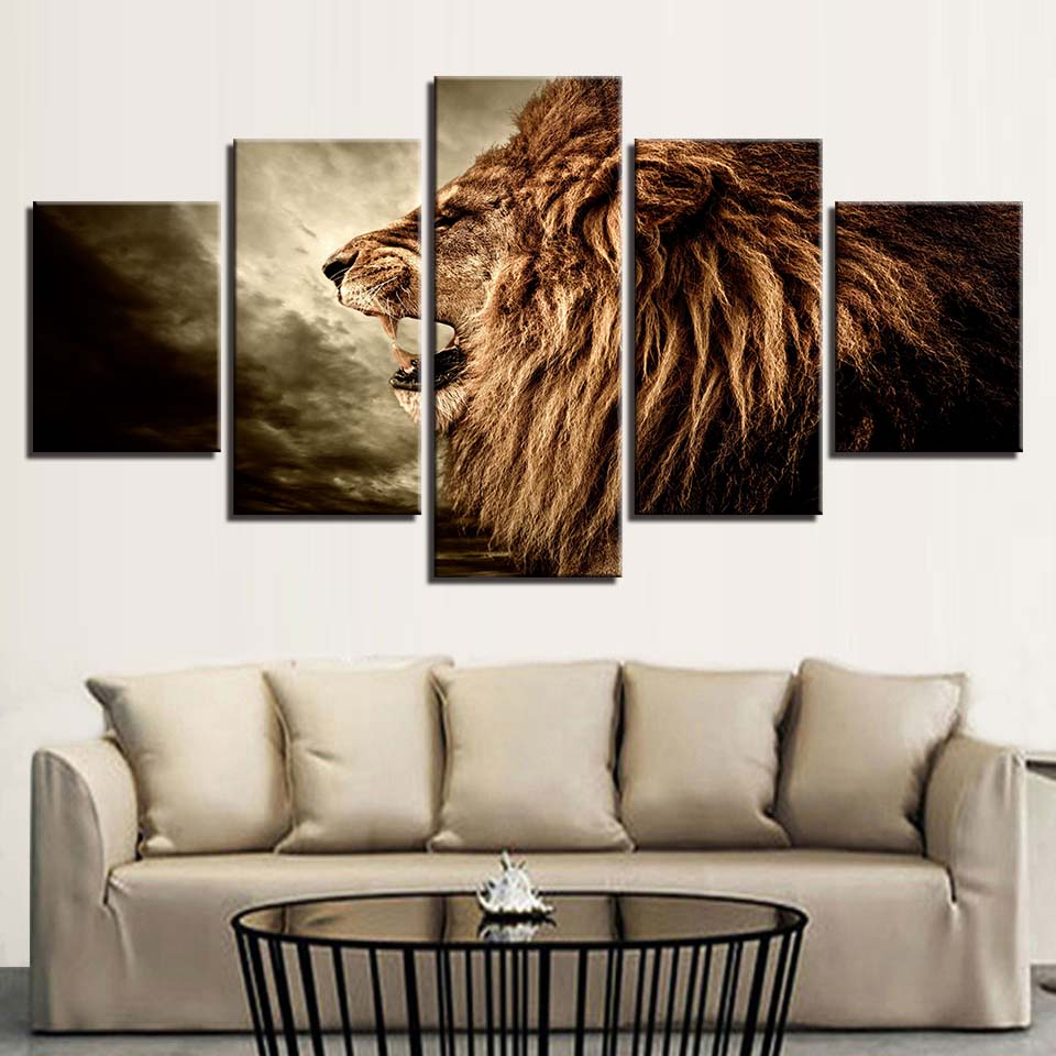 Lion Wild Animal Frame 5 Piece HD Multi Panel Canvas Wall Art Frame