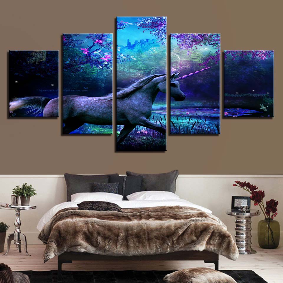 Unicorn Scenery 5 Piece HD Multi Panel Canvas Wall Art Frame