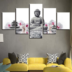 Buddha Orchid  5 Piece HD Multi Panel Canvas Wall Art Frame