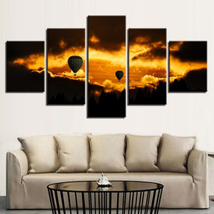 Hot Air Balloons 5 Piece HD Multi Panel Canvas Wall Art Frame