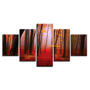 Autumn Forest 5 Piece HD Multi Panel Canvas Wall Art Frame