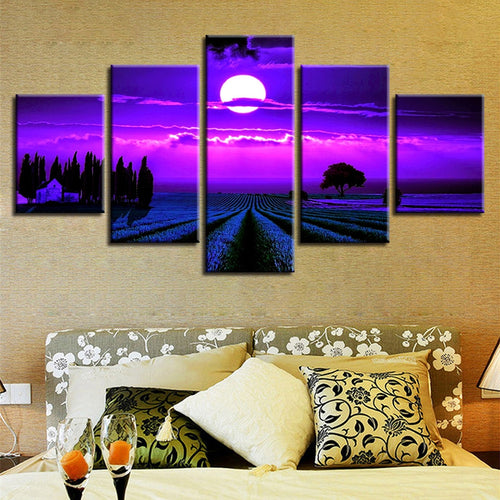 Purple Moon 5 Piece HD Multi Panel Canvas Wall Art Frame