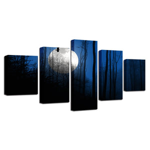 Forest Moon Landscape 5 Piece HD Multi Panel Canvas Wall Art Frame