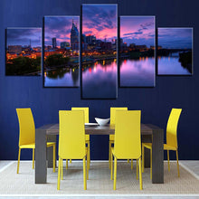Buildings at Night 5 Piece HD Multi Panel Canvas Wall Art Frame
