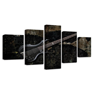 Electric Guitar 5 Piece HD Multi Panel Canvas Wall Art Frame